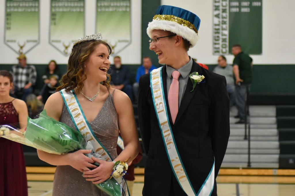 Rebecca Horan and Tyler VanDusen-Snowfest 2020 King and Queen